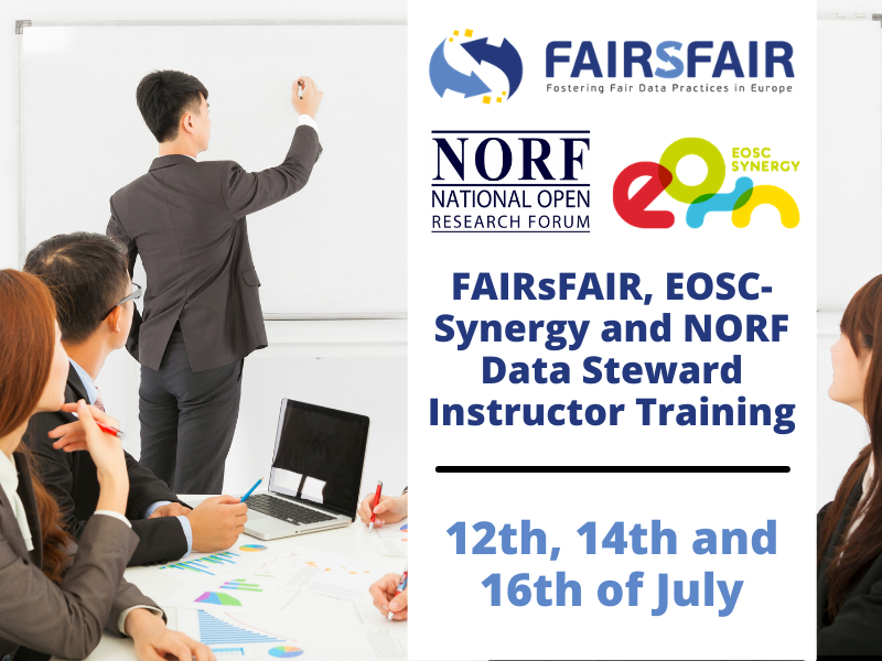 FAIRsFAIR, EOSC-Synergy and NORF Data Steward Instructor Training 12-16 July 2021
